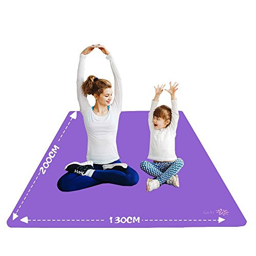YUREN Double Oversized Yoga Mat 130 cm Wide NBR Made Thickness 10 mm 200 cm 130 cm Parent Child Yoga Mat Beginner Training Mat Exercise Stretch Mat with Storage Bag