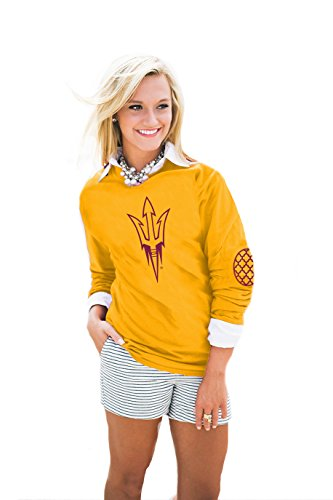 Ncaa Arizona State Sun Devils Womens Puff Print Elbow Patch Long Sleeve Alternate  Medium  Gold