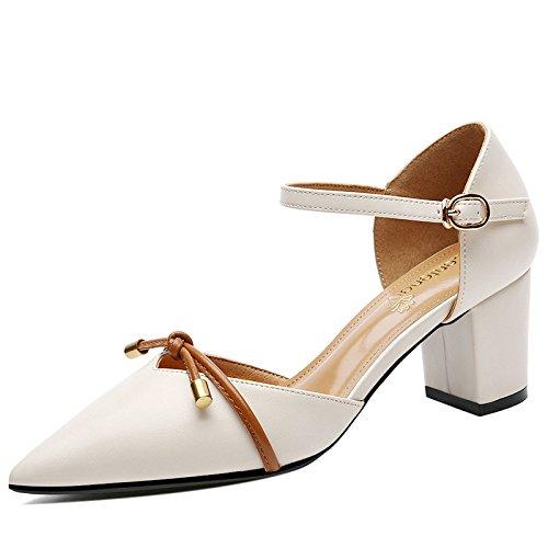 Beige Abend Low Block Patry Schnalle Knöchelriemen Lederschuhe Sandalen Schuhe Büro Womens Mid Spitz Kleid Heel 6wqPPdB