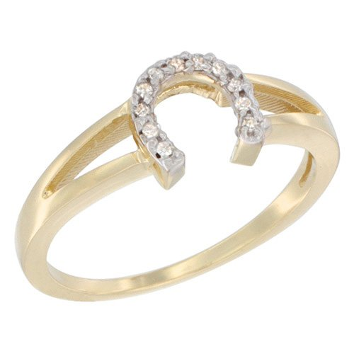 Diamond Ladies Ring Horseshoe (14K Yellow Gold Ladies Diamond Horseshoe Ring, 1/4 inch wide, sizes 6.5)
