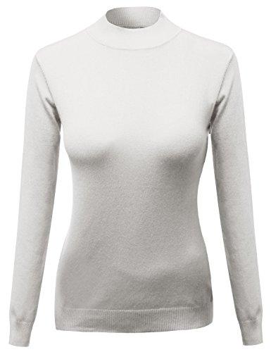 Awesome21 Mock Turtle Neck Long Sleeve Knit Top Sweater Ivory Size (Cotton Knit Mock Turtleneck)