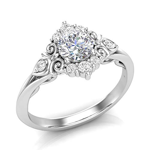 (White Gold Vintage Halo Engagement Ring Filigree Scroll Art Deco Ring Unique Halo Ring Forever One Colorless Moissanite Center Ring For Her)