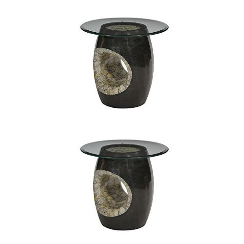 """Price comparison product image Michael Amini Round Accent Table with Glass Top for Accent Table, Blackstone, 24"""""""
