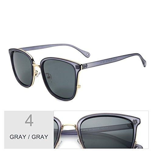 de femenina Gafas para de Gris lentes polarizadas UV400 Gray TL estilo Gray sol sol popular Gafas Piazza gafas de sol mujeres TR90 Sunglasses Gris wxqOT