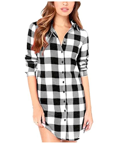 StyleDome Women Buffalo Check Plaid Long Sleeve Collar Neck Casual Button Down Tops Shirts Long Blouses Black White 14 -