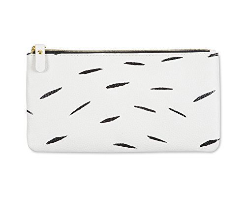 Ashley G for Blue Sky Pencil Zipper Pouch, White Feather Design - Blue Sky Binders