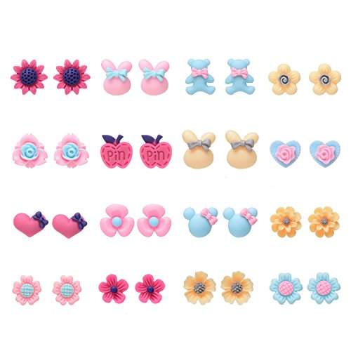16 Pairs Variety Assorted Flowers Stud Earrings Set for Girls,Hypoallergenic