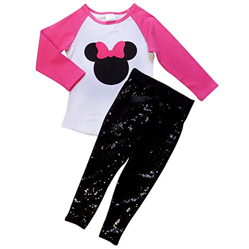 So Sydney Girls Toddler Sequin Novelty Fall Sparkle Outfit - Long Sleeve Tee & Leggings (XL (6), Hot Pink Mouse) ()