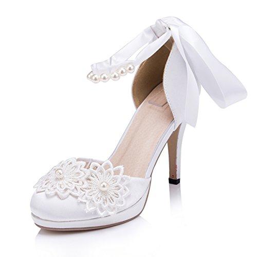 Kevin Fashion Zms611 Dames Ronde Neus Lint Satijn Bruids Bruiloft Feest Avond Prom Pumps Schoenen Ivoor