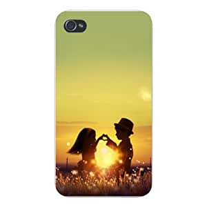 Apple Iphone Custom Case 5 / 5s White Plastic Snap on - Cute Children in Love Boy & Girl Make Heart in Sunset