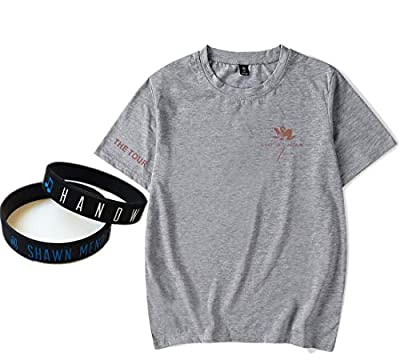 Shawn Mendes Gray T-Shirt Bracelet Cute Couple Gift Concert Album Print Tee Suit Short Sleeve Personalised
