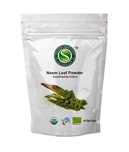 Neem Leaf Powder (Azadirachta Indica) USDA Certified Organic│ Supports Healthy Digestion & Low Blood Sugar Levels │ Skin & Hair Growth Botanical Supplement by Soliaura Ingredients - 1 Pound (16oz) ()