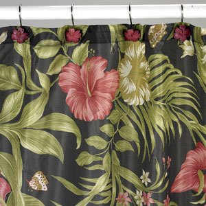Interiors Design Burgundy Red Hibiscus And Bird Of Paradise Floral Fabric Shower Curtain With 12