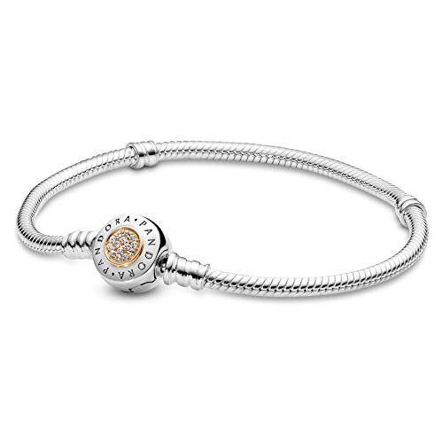 PANDORA Jewelry - Moments Logo Charm Bracelet for Women in Sterling Silver and 14K Yellow Gold with Clear Cubic Zirconia, 7.1 in / 18 cm