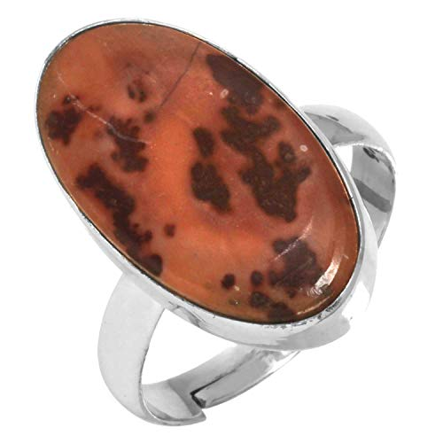 Natural Coffee Bean Jasper Gemstone Adjustable Ring Solid 925 Sterling Silver Stylish Jewelry Size 9