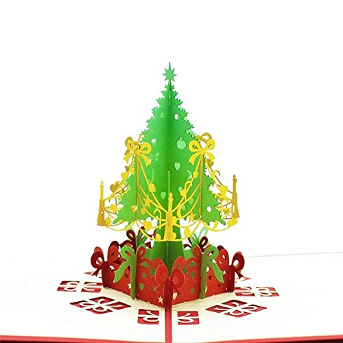 Merry Christmas Cards Christmas Tree Winter Gift Pop UP Cards Christmas Decoration Stickers Laser Cut New Year Greeting Cards -
