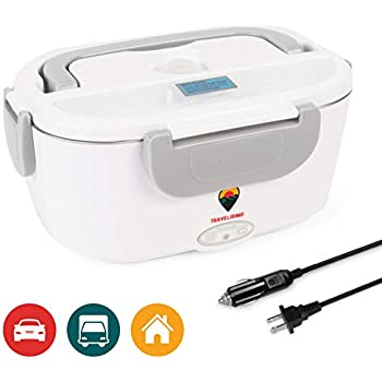 Electric Lunch Box 2 in 1 for Car/Truck and Work 110V & 12V 40W - Stainless Steel Portable Food Warmer Heater 1.5L - Spoon and 2 Compartments Included
