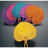 """10"""" Colored Raffia Fans (1 dozen) - Bulk [Toy]"""