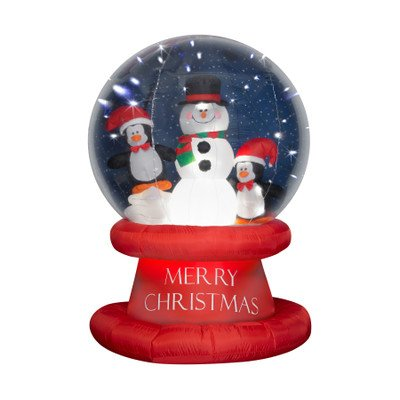 Gemmy Industries Inflatable LED Lighted Penguin with Snowman Snow Globe