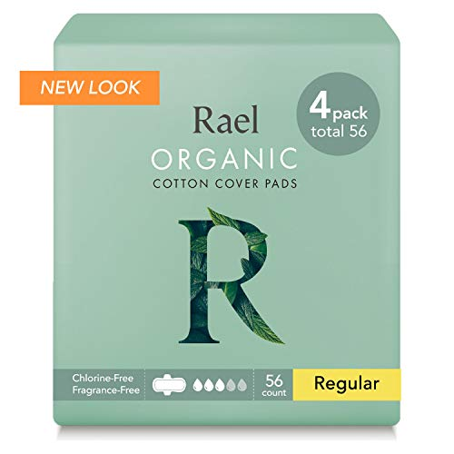 Rael 100% Organic Cotton Menstrual Regular Pads, Ultra Thin Natural Sanitary Napkins with Wings (56 Total), Pack of 4