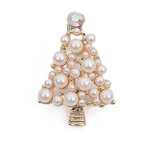 Rhinestone Christmas Tree Pin Brooch - Hosaire Women's Christmas Tree Brooch Pin Rhinestones Pearl Breastpin Broochpin Wedding/Banquet/Bouquet