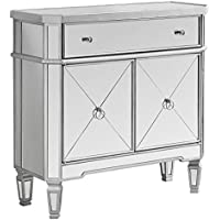 Monarch Specialties Mirrored Accent Chest, Brushed Silver Frame, 32L