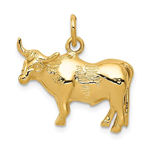 - 14k Yellow Gold Steer Pendant Charm Necklace Animal Cow Man Fine Jewelry Gift For Dad Mens For Him