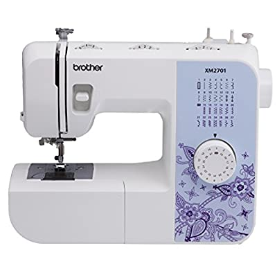 Brother XM2701 Lightweight, Full-Featured Sewing Machine with 27 Stitches, 1-Step Auto-Size Buttonholer, 6 Sewing Feet, and Instructional DVD by Brother
