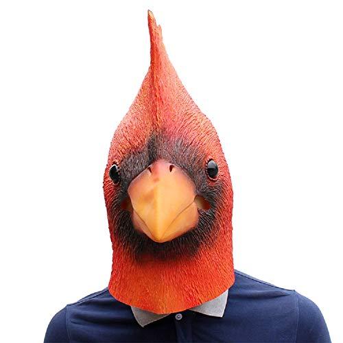 NECHARI Deluxe Novelty Halloween Costume Party Latex Bird Cardinals Head Mask Linnet