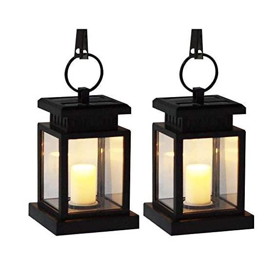 """AMEI Solar Lantern, Solar LED Deck Light, Outdoor Hanging Solar Garden Light, Patio Lanterns, Yard Decorations,Hanging Solar Lantern with Clamp for Patio Umbrella Deck Lighting & Decoration (2 Pack) - Small & Portable - 3.5"""" x 3.5"""" x 4.9"""", with a metal clamp and ring, you can change lighting place to yard garden lawn patio umbrella outdoor anywhere you can hang. Energy-Saving & Auto On-OFF - Powered by solar, you just need take this led lantern under direct sunshine 4-6 hours, the included rechargeable battery will storage plenty of energy to light dusk to dawn with Auto on-off. No added electricity fee or battery cost. High Quality Made, long service life, no UV or IR, environmental friendly.4 to 5 hours of sunlight at day time provides 6 to 9 hours brightness at night. - patio, outdoor-lights, outdoor-decor - 4181zAFggNL. SS570  -"""