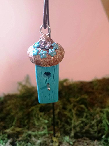 Fairy garden miniature bird house. Turquoise blue. Fairy garden accessories, terrarium décor. With butterfly and flowers. ()