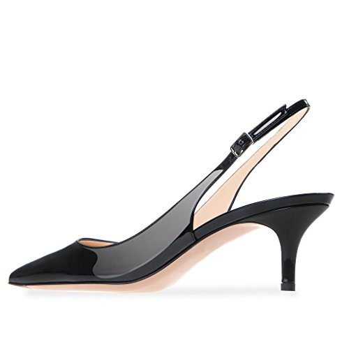 Modemoven Women's Black Patent Leather Pointed Toe Slingback Ankle Strap Kitten Heels Pumps Evening Stiletto Shoes - 7 M US by Modemoven (Image #4)