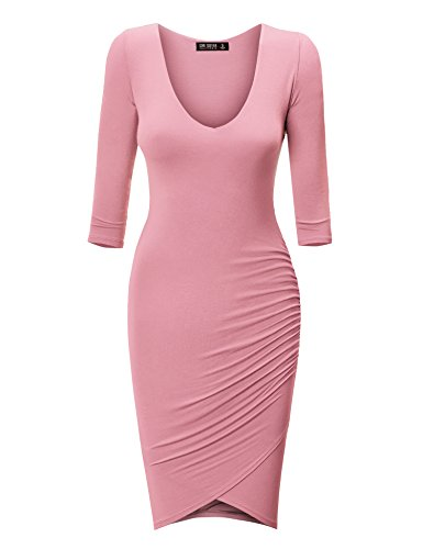 WDR940 Womens Deep V Neck 3/4 Sleeve Tulip Bodycon Dress XL Pink (Pink Tulip Dress)