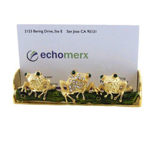 - EchoMerx Frog Business Card Holder Bejeweled, Gold