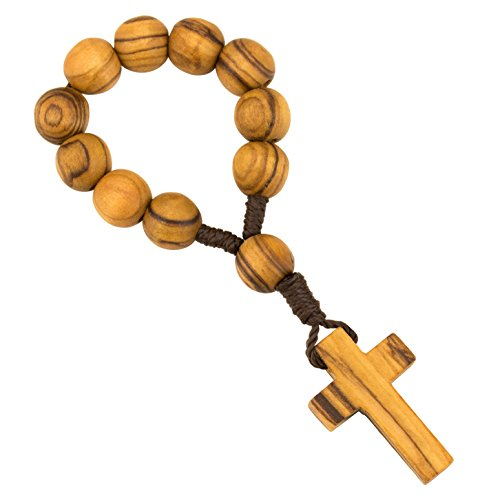 - PuroKraft TM Olive Wood Finger Rosary Catholic with Wooden Beads - Ring Rosary for Comfort Gifts, Baptism Gifts and Prayer - One Decade Rosary