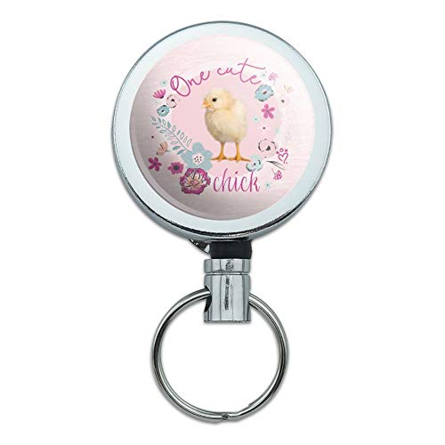 One Cute Chick Chicken Easter Spring Heavy Duty Metal Retractable Reel ID Badge Key Card Tag Holder with Belt Clip ()