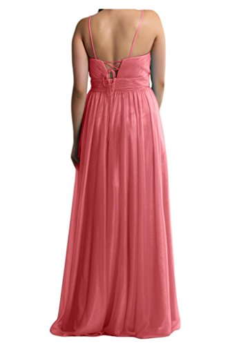 Dos-Traeger con estilo de novia de la Toscana de cristal vestidos de gasa por la noche fiesta de dama de honor vestidos Prom bola de largo Wassermelonerot