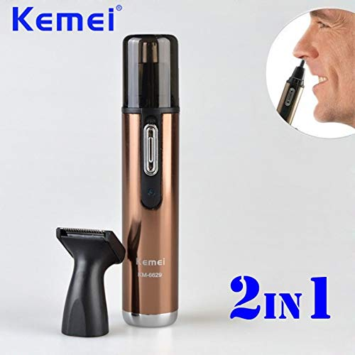 Epilator - 2 in 1 Electric Rechargeable Nose and Ear Hair Trimmer Removal Fashion Safe Face Care Shaving Machine Hair Cutter KM-6629