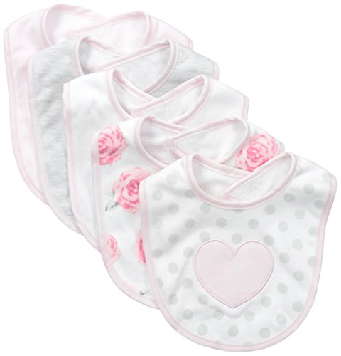 Isaac Mizrahi Baby-Girls Heart Bib Set (Pack of 5), Pink Heart,Newborn