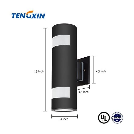TENGXIN Outdoor Wall Lamp Modern Wall Sconce Outdoor Light Fixture Black Aluminum Material,Toughened Glass,E27,Waterproof,UL Listed - Light Body is made of aluminum and Up/Down caps are made of Toughened Glasses, Modern Outdoor Wall Sconce, sealed with Silicone Adhesive.Strong and Durable. UL Listed, Weather proof & Rust resistant.High Quality Aluminum Alloy Lamp Body,Exquisite Workmanship,Effective Heat Dissipation Prolong the Service Life Medium Base Socket:features on E26/E27 that is compatible with a variety of Incandescent,LED(60 Watt max,not included) - patio, outdoor-lights, outdoor-decor - 4182%2BphK7iL. SS570  -