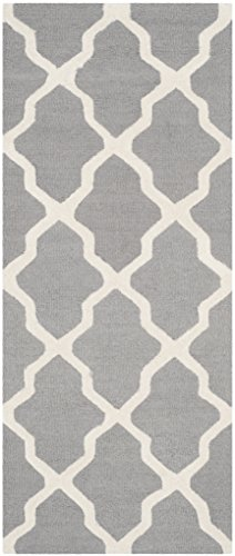 Safavieh Cambridge Collection CAM121D Handmade Moroccan Geometric Silver and Ivory Premium Wool Runner (2'6 x 6′)