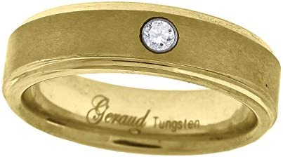 Jewels By Lux Tungsten Yellow-Tone Cubic Zirconia CZ Center Brushed Step Edges Mens Comfort-fit 6mm Wedding Anniversary Band.