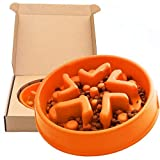 Simply Pets Online Anti Gulp Dog Bowl - Non Plastic, Large Slow Feeder Dog Bowl, Made from Bamboo Fiber