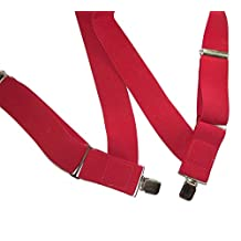 "HoldUp Hip-clip Trucker Style 2"" Wide Side Clip Suspenders (Red)"