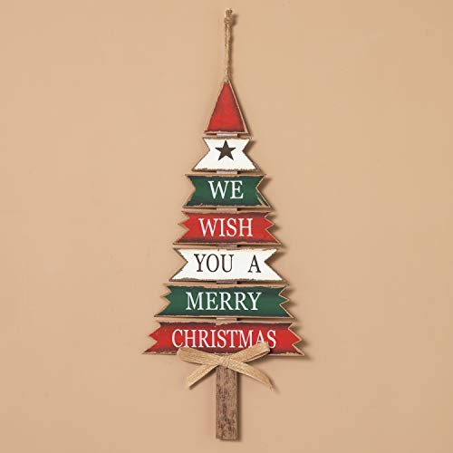 We Wish You a Merry Christmas Wooden Plank Tree Sign - Wall Hanging Holiday Decoration ()