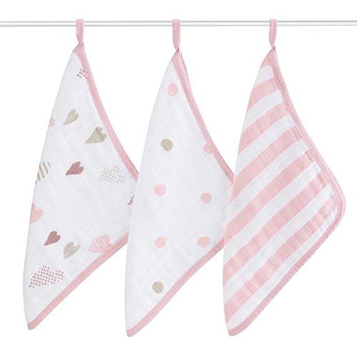 - aden + anais washcloth set 3 pack, heartbreaker