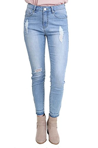 Umgee Women's Five Pocket Stone Washed Stretch Skinny Jeans With Distressed and Raw Hem Details (Pocket 5 Stonewashed Jean)