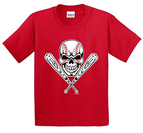 (Baseball Gift Skull Crossbones Bat Youth T-Shirt Large Red)