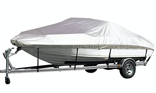 iCOVER Trailerable Boat Cover,Water Proof Heavy Duty, Fits V-HULL,TRI-HULL,Fish&Ski, Pro-Style, Fishing Boat, Runabout, Bass Boat, up to 14ft-16ft Long and 68