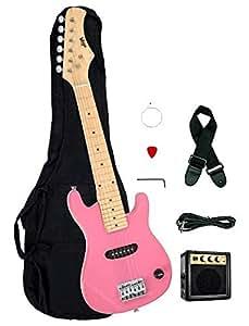 1 2 half size kids pink 30 inch electric guitar and amplifier pack gig bag strap. Black Bedroom Furniture Sets. Home Design Ideas